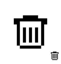 Black pixelart trash can vector