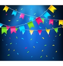 Multicolored bright buntings garlands party flags vector