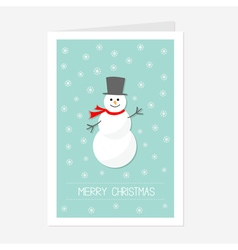 Cartoon snowman wearing black hat and scarf vector
