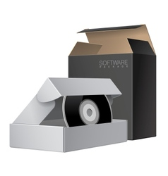 Two package box opened with dvd or cd disk vector