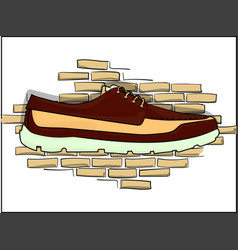 Dark red shoes on a piece on the background of a vector