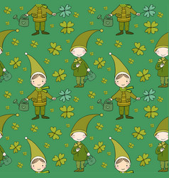 Pattern with cute gnomes clover and watering vector