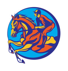 Horse riding riding horse with jockey vector