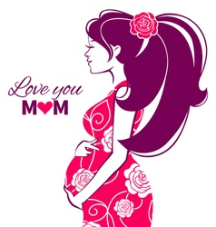 Beautiful silhouette of pregnant woman vector image