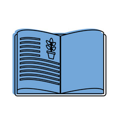 Open book with plant drawing science related icon vector
