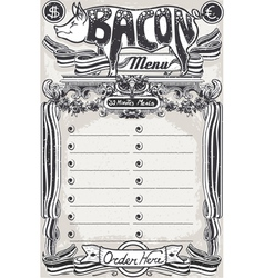 Vintage page bacon menu for restaurant vector