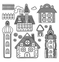 Hand draw ornate decorative house drawing set vector