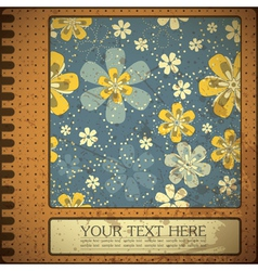 Grunge floral card with place for text vector
