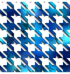 Hounds-tooth blue pattern on white background vector