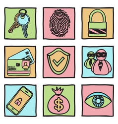 Security and hacker icons vector