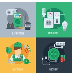 Electricity flat icons vector
