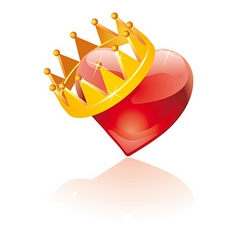 Glass crowned heart vector