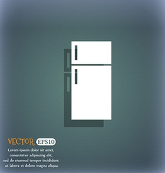 Refrigerator icon sign on the blue-green abstract vector