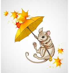 Mouse flying under the umbrella vector