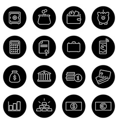Money and finance line icons collection vector