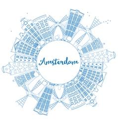 Outline Amsterdam city skyline vector image