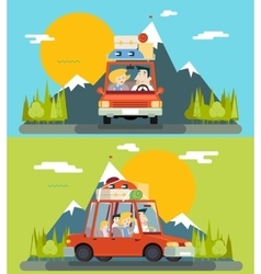Car trip family adult children road concept flat vector