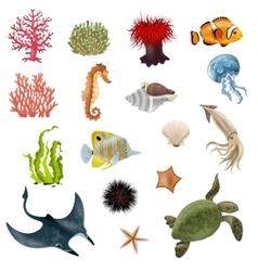 Sea Life Cartoon Icons Set vector image