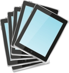 Black tablet pc set on white background vector