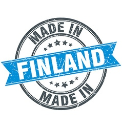 Made in finland blue round vintage stamp vector