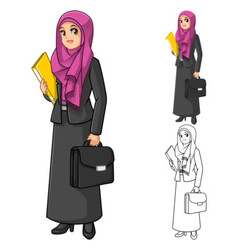 Muslim businesswoman wearing fuchsia veil or scarf vector