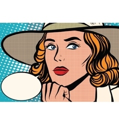 Retro lady thinks close-up vector