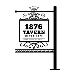 Tavern sign metal frame with curly elements vector
