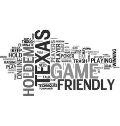 A friendly game of texas holdem text word cloud vector