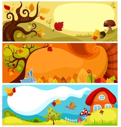 autumn card set vector image