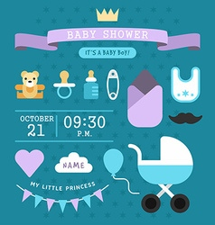 Baby shower invitation template for baby boy with vector image