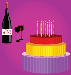 Birthday cake with wine cartoon vector