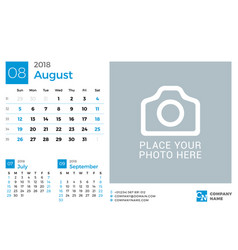 Calendar for 2018 year design print template with vector