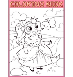Coloring book Little princess on the meadow vector image