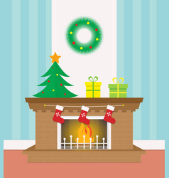 flat christmas fireplace with socks and gifts vector image