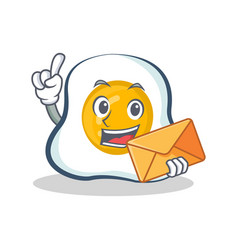 Fried egg character cartoon with envelope vector