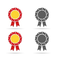 Golden badge and monochrome medals in vector