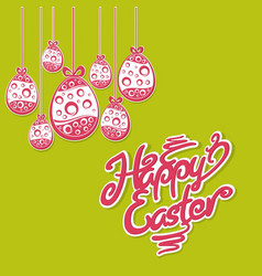 Hanging easter eggs text vector