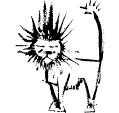 Ink lion vector