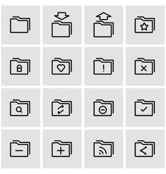 line folder icon set vector image