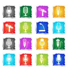 microphone icon set vector image