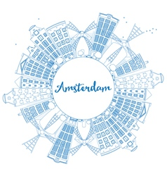 Outline Amsterdam city skyline vector image vector image