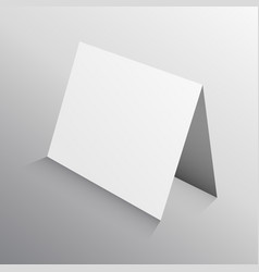 Perspective folded paper card in 3d mockup vector