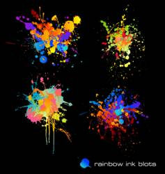 rainbow ink blots vector image vector image