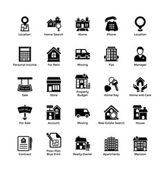 Real estate glyph icons 3 vector
