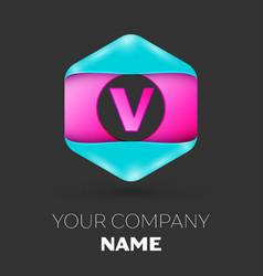 Realistic letter v logo in colorful hexagonal vector