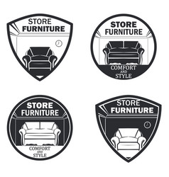 set of 4 furniture vector image vector image