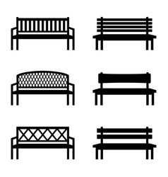 Set of silhouettes of benches vector