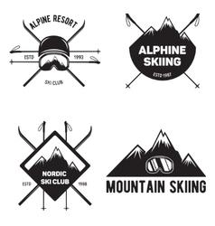Set of Ski Club Vintage Mountain winter badges vector image vector image