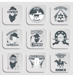 Set of wild west cowboy designed elements vector