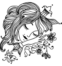 Sleeping beautiful princess vector image vector image